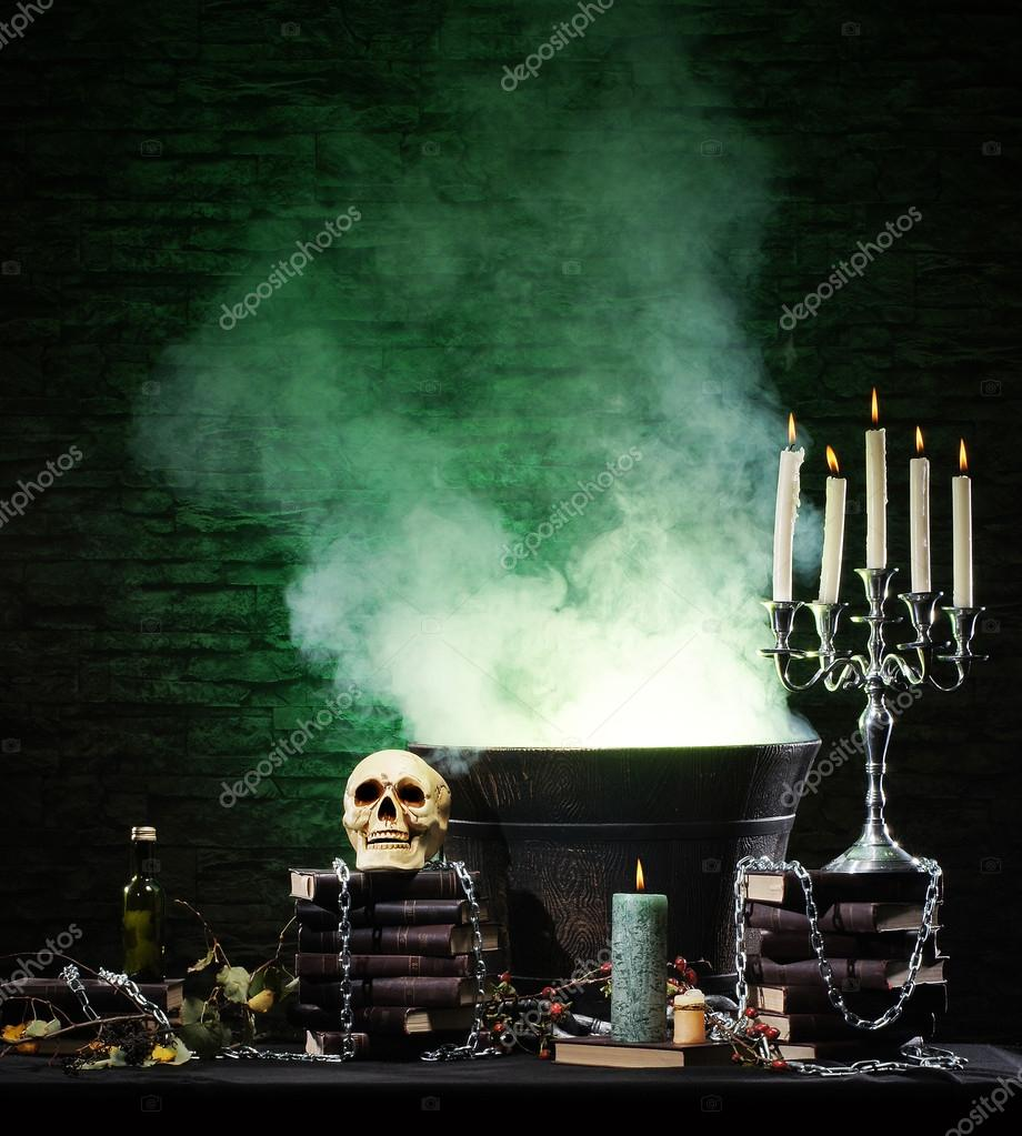 Halloween still-life background with a lot of different elements — Stock Photo #15443061