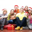 Stock Photo: Teenagers celebrate christmas