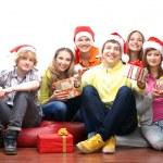 Teenagers celebrate christmas — Stock Photo #15522333