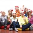 Teenagers celebrate christmas — Stock Photo