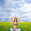 Young fit brunette meditating - Stock Photo