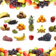 Nutrition frame and fruits inside isolated on white - Stock Photo
