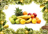Green fruits isolated on white — Stock Photo