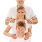 Happy family isolated over white background — Stock Photo