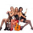 Stock Photo: Sexy female music band