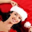 Young and sexy woman wearing erotic lingerie in Christmas style — Stock Photo