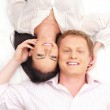 Young happy couple over white background — Stock Photo #15758531