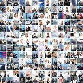 Velké koláž vyrobené z asi 250 fotek různých obchodních — Stock fotografie