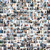 De collage van een groot bedrijf met veel personen — Stockfoto