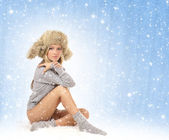Young sexy girl in winter dress — Stock Photo