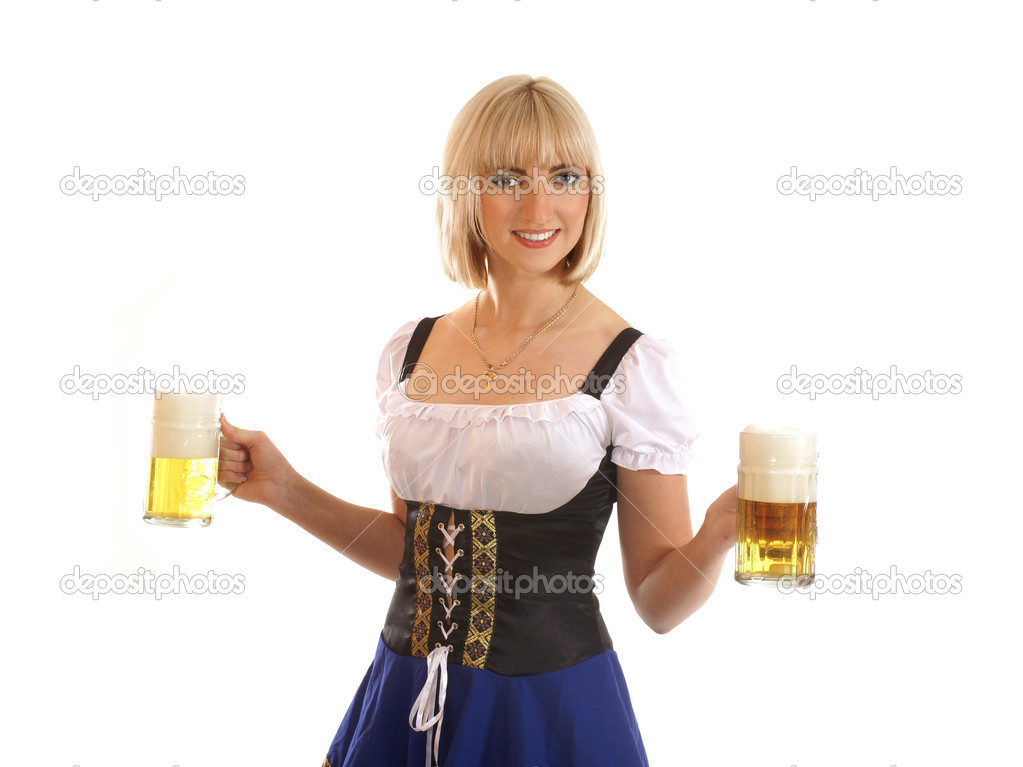 Attractive bavarian woman isolated on white         — Stock Photo #15804219