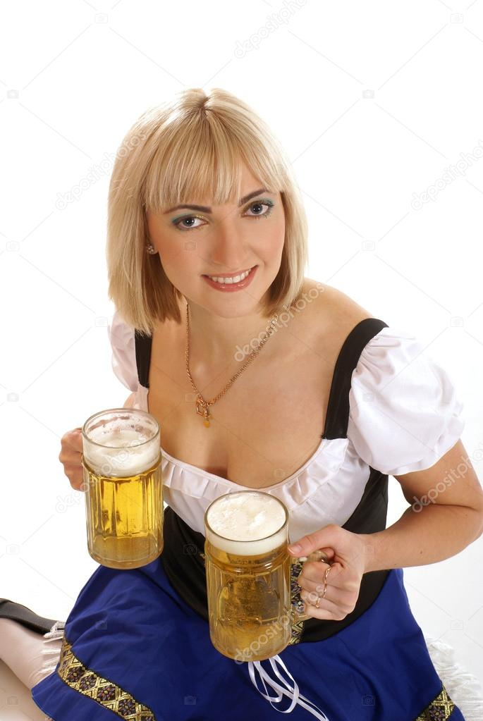 Attractive bavarian woman isolated on white     Stock Photo #15804297