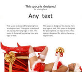 Young sexy Santa with a christmas presents isolated on white — Stock Photo