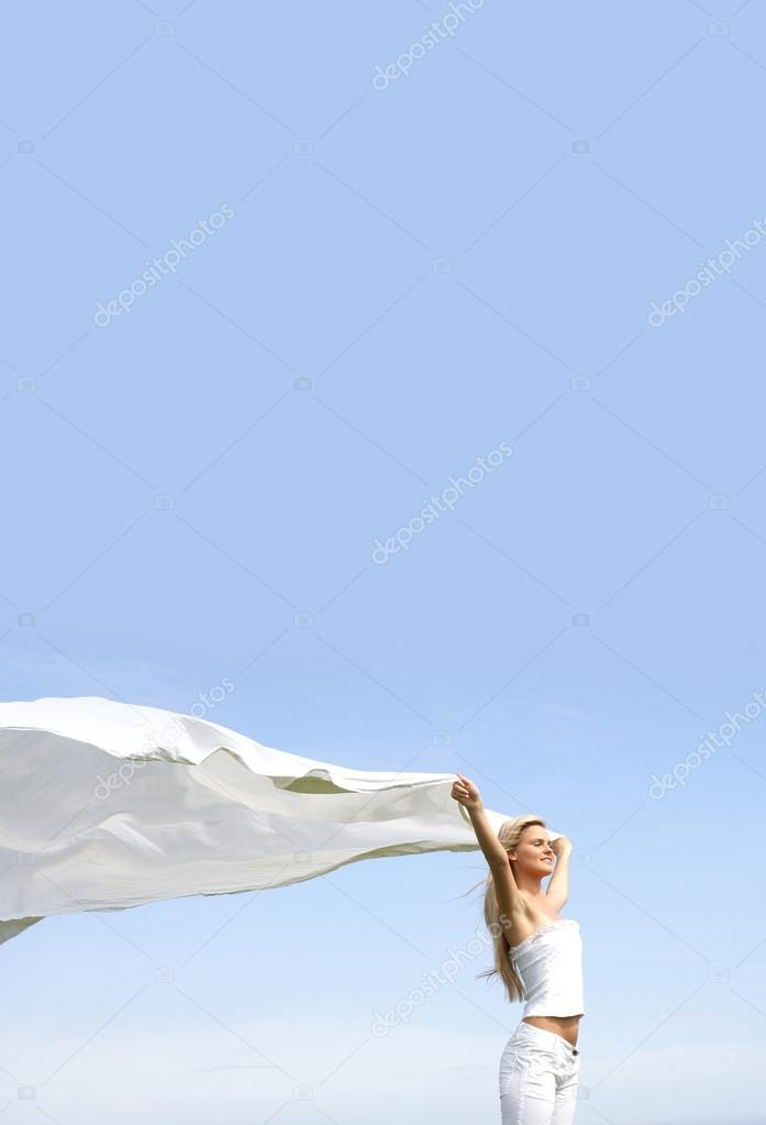 Sexy blond over sky background                 — Stock Photo #15832065