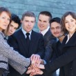 Business team over modern background — Foto de Stock