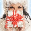 Stock Photo: Young and beautiful woman holding a nice Christmas present over