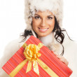 Young and beautiful woman holding a nice Christmas present over white background — Stock Photo #15869517