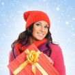 Young and beautiful woman holding a nice Christmas present — Stock Photo