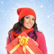 Young and beautiful woman holding a nice Christmas present — Stock Photo #15869573
