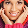 Portrait of young beautiful girl in winter style isolated on whi — Stok fotoğraf
