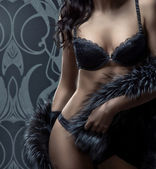 Fashion shoot of beautiful woman in luxury lingerie — Stok fotoğraf
