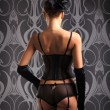 Back of young and sexy woman in retro lingerie - Stock Photo