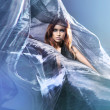 Young attractive woman in blowing silk — Stock Photo #15872335