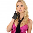 Attractive girl talkin on the phone — Stock Photo