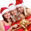Three young girls celebrate Christmas — 图库照片 #15874107