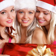 Three young girls celebrate Christmas — Foto de Stock