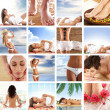 Spa collage with some nice shoots of young and healthy women getting recreation treatment — Stock Photo #15875065