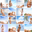 Spa collage with some nice shoots of young and healthy women getting recreation treatment — Stock Photo #15875085