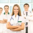 Team of young and smart medical workers — 图库照片