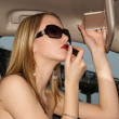 Sexy woman in a car - Stock Photo