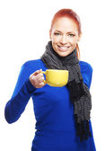 Young woman with the cup of tea — Stock Photo
