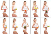 Collage of some photos with sporty girl and fruits — Stock Photo