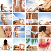 Spa collage with some nice shoots of young and healthy women getting recreation treatment — Stock Photo