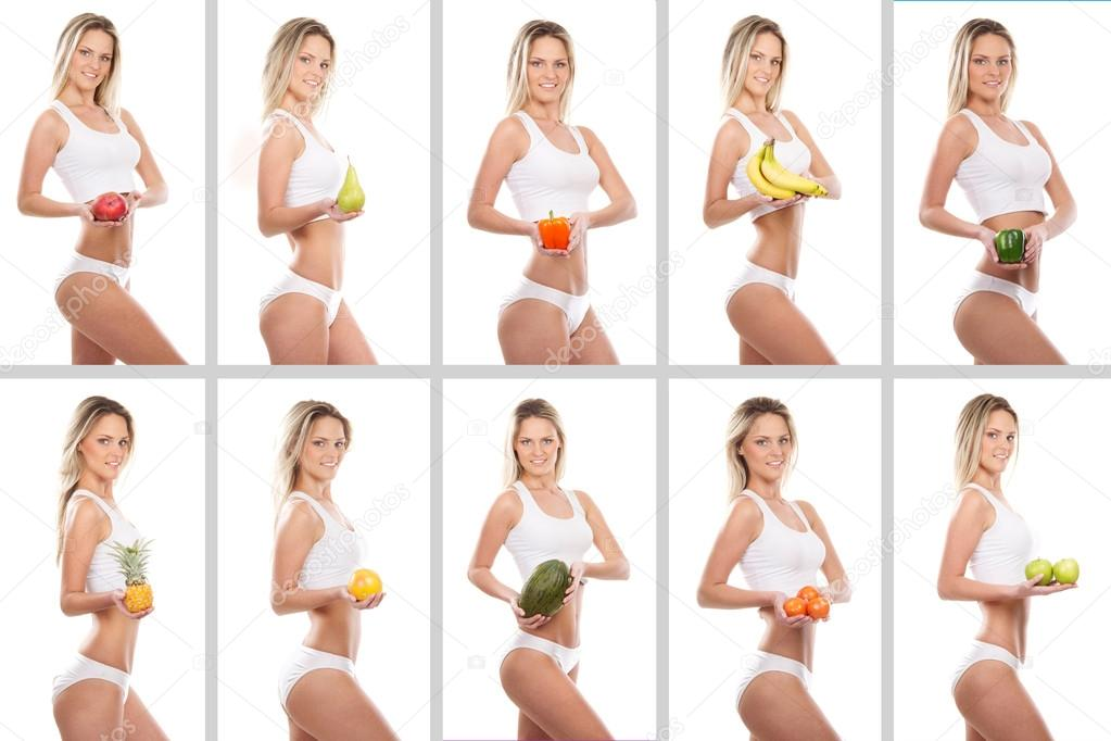 Collage of some photos with sporty girl and fruits — Stock Photo #15874953