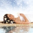 Attractive woman getting spa treatment isolated on white (Christmas concet) — Stock Photo