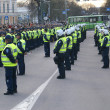 Police officers arrest near Bronze Soldier in Tallinn Est - Stock Photo