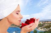 Beautiful spa portrait over resort background — Stock Photo
