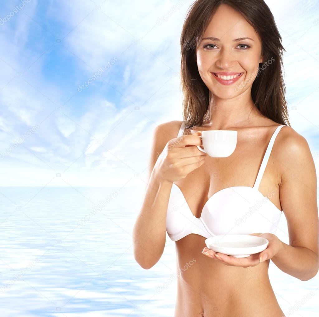Sexy Woman Drinking Coffee