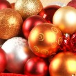 Stockfoto: Christmas background with the balls and snowflakes