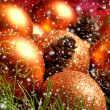 Christmas background with the balls and snowflakes — Photo