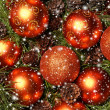 Christmas background with the balls and snowflakes — Stock Photo #16020281