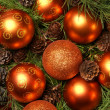 Christmas background with the balls and snowflakes — Stockfoto