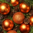 Christmas background with the balls and snowflakes — Stock fotografie