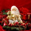 Stock Photo: Christmas background with Santdoll