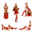 Set of sexy Santas — Stock Photo