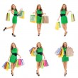 Some photos of young attractive woman with shopping bags — Stock Photo #16029301